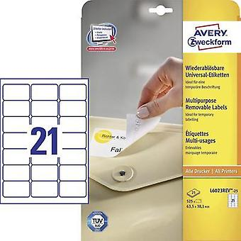Avery Removable Labels 63,5 x 38,1mm (25) Avery-Zweckform