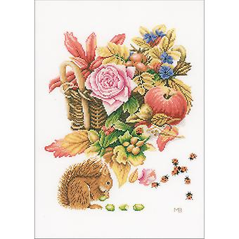 LanArte Squirrel On Cotton Counted Cross Stitch Kit-12.25