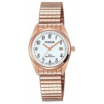 Pulsar Womens Rose Gold Tone Stainless Steel White Dial PH7446X1 Watch