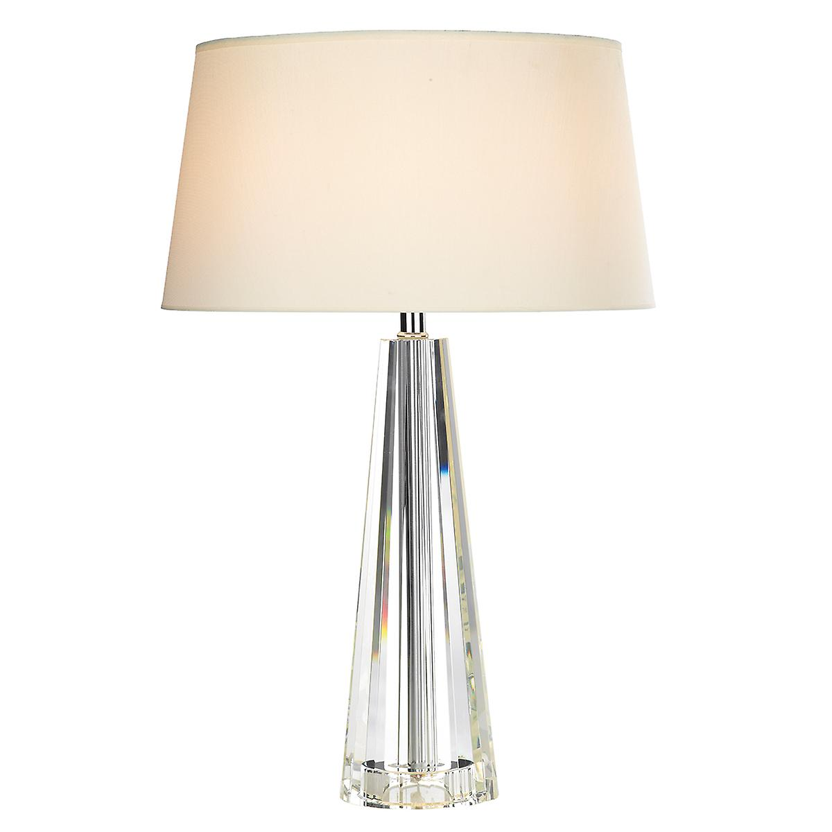 Dar CYP4208 Cyprus Tapered Crystal Table Lamp With Cream Faux Silk Shade
