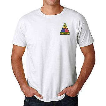 US Army 2nd Armoured Division Hell On Wheels Embroidered Logo - Cotton T Shirt