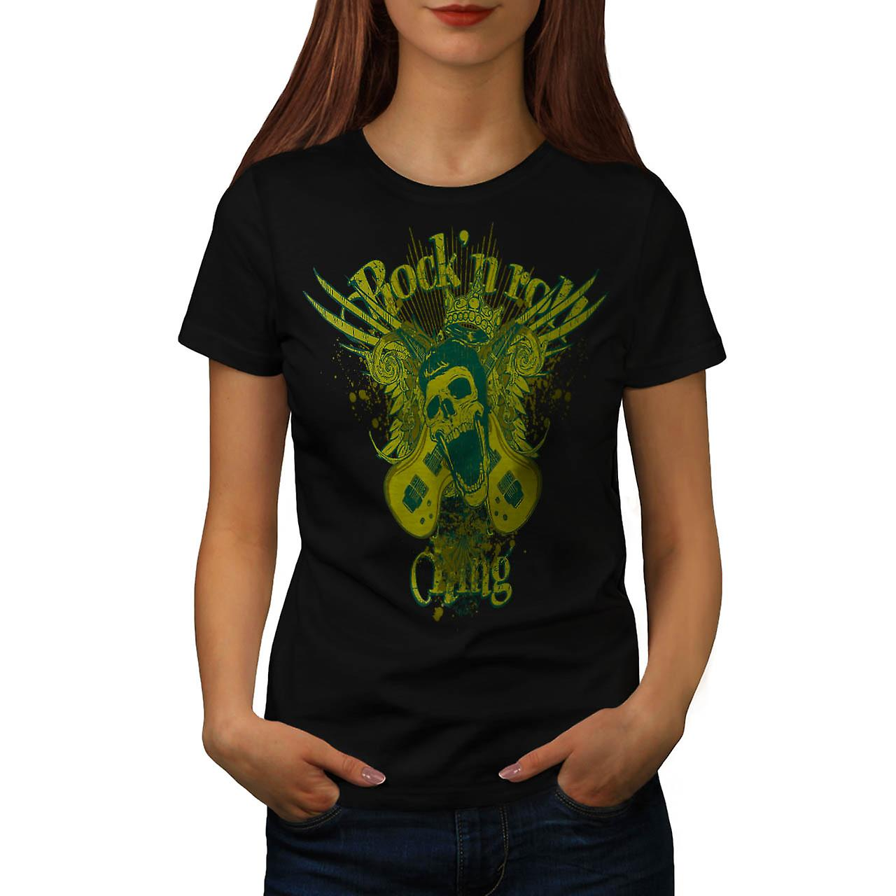 Rock and Roll King Guitar Skull Women Black T-shirt | Wellcoda