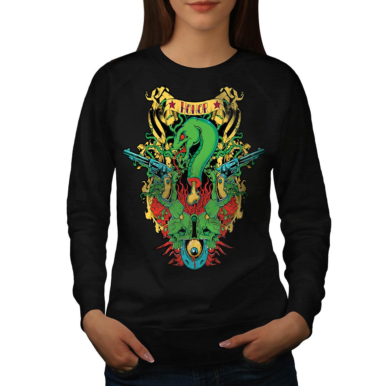 Dragon Death Honour Snake Myth Women Black Sweatshirt | Wellcoda