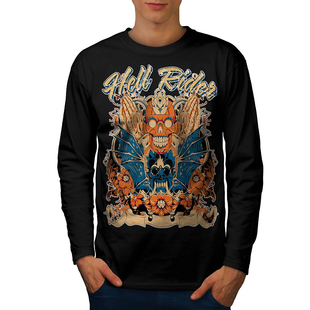 Hell Rider Samurai Warrior Mask Men Black Long Sleeve T-shirt | Wellcoda