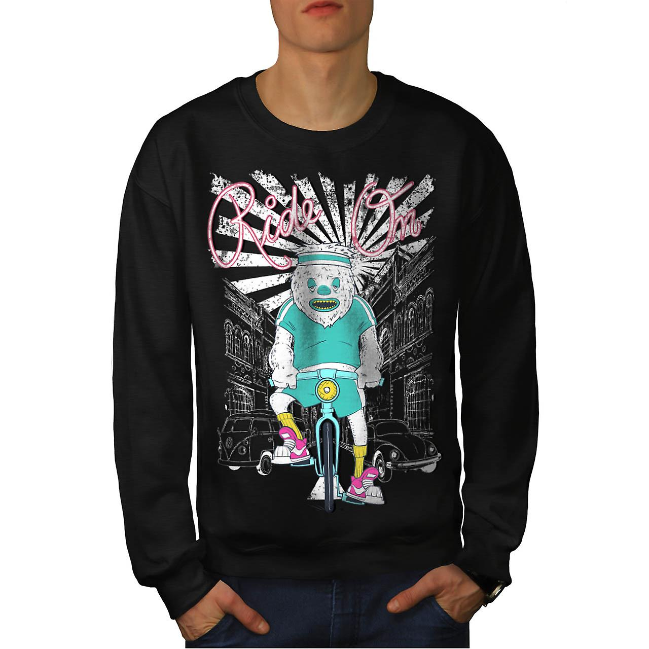 Ride sur Monster moto Cycle ville hommes noir Sweatshirt | Wellcoda