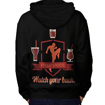 Friday Cool Joke Funny Men Black Hoodie Back | Wellcoda