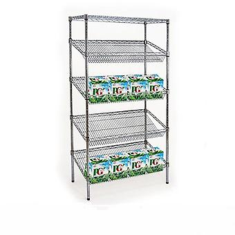 5 Tier Chrome Wire Sloping Shelving Unit