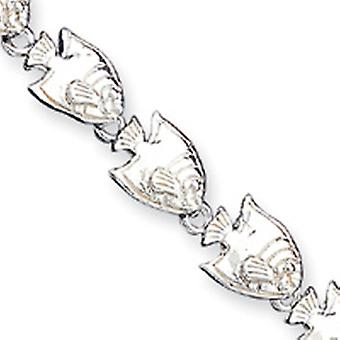 Sterling Silver Solid Open back Lobster Claw Closure Tropical Fish Bracelet - 7 Inch - Lobster Claw
