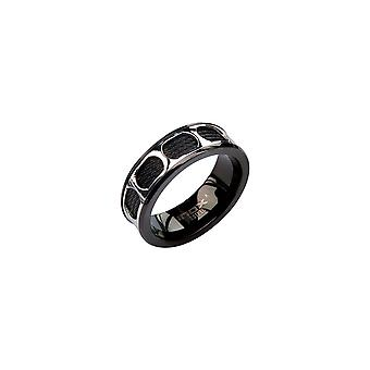 Herrel stainless steel ring with cable, IP black