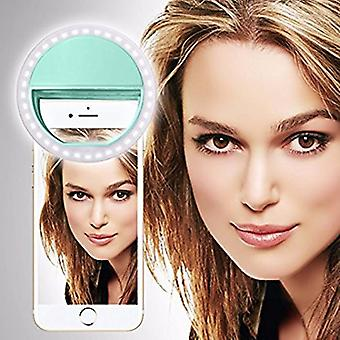 For LG Stylo 4 - Clip on Selfie Ring 36 LED Light Round Shape Adjustable 3 Brightness Levels (Light Green) by i-Tronixs