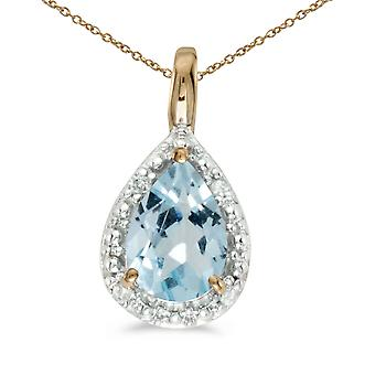10k Yellow Gold Pear Aquamarine Pendant with 16