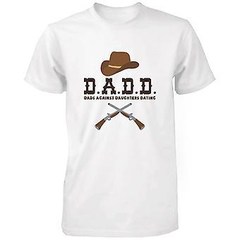 Mænds sjove grafiske erklæring hvid T-shirt-fædre mod døtre Dating