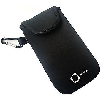 ベルクロの閉鎖とアルカテル アイドル 4 - ブラックのアルミ製カラビナと InventCase ネオプレン耐衝撃保護ポーチ ケース カバー バッグ