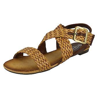 Ladies Spot On Flat Plaited X Strap Sandal F0578