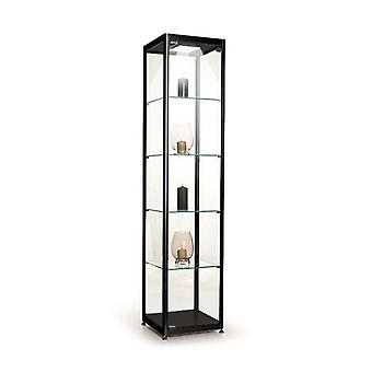 Black Glass Display Cabinet with 1 LED Light - 400mm