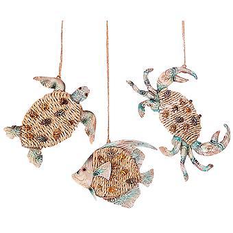 Key Biscayne Krabbe Meeresschildkröte Fisch Weihnachten Urlaub Ornamente Set 3