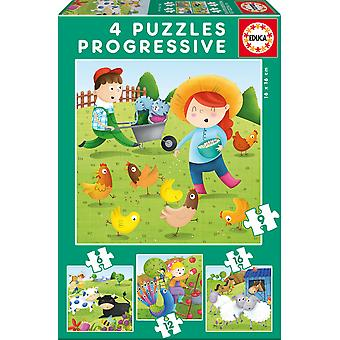 Educa Puzzle Progresivo 6-9-12-16 Granja (Toys , Preschool , Puzzles And Blocs)