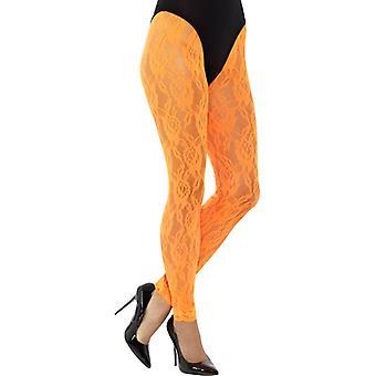 80-talet spets leggings neon Orange spetsar damer kostym en storlek