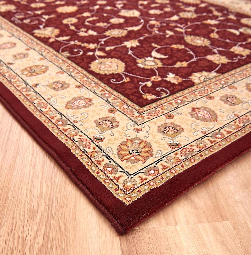 Noble Art 6529-391 Tief rote Zentrum mit Elfenbein Grenze und Viskose Akzente Rectangle geknüpfte Teppiche