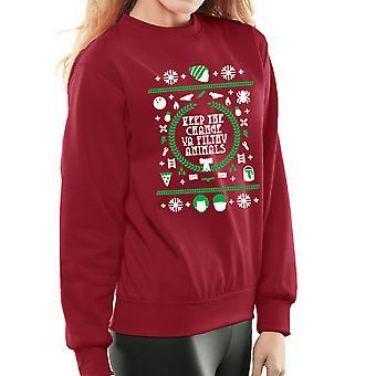 Keep The Change Sie schmutzige Tiere nach Hause alleine 2 Weihnachten Damen Sweatshirt