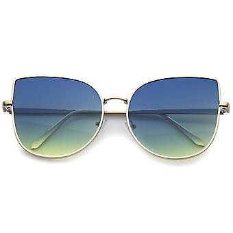 女性のオーバー サイズのスリムな金属製のフレームのグラデーション色の平面レンズの猫の目のサングラス