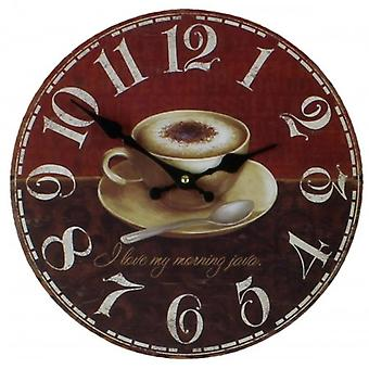 HomeTime Coffee Cup Wall Clock - Red/Brown