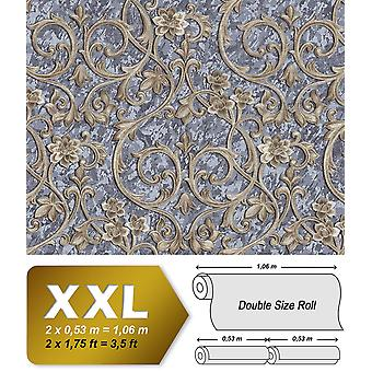 Baroque wallpaper EDEM 9016-37 non-woven wallpaper imprinted with floral ornaments and metal accents grey bronze pigeons blue blue-eyed 10.65 m2