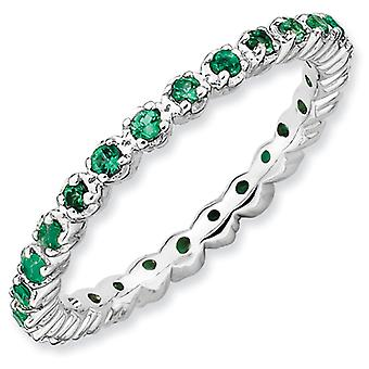 Sterling Silver Polished Prong set Patterned Rhodium-plated Stackable Expressions Created Emerald Ring - Ring Size: 5 to