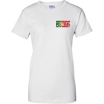 Portugal Grunge Country Name Flag Effect - Ladies Chest Design T-Shirt