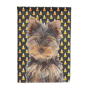 Candy Corn Halloween Yorkie Puppy / Yorkshire Terriër vlag Canvasgrootte huis