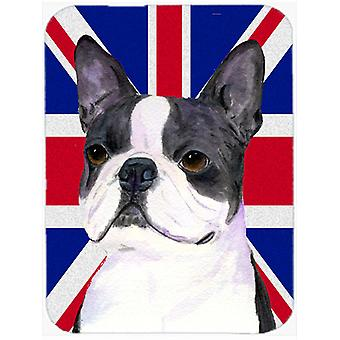 Boston Terrier with English Union Jack British Flag Glass Cutting Board Large Si