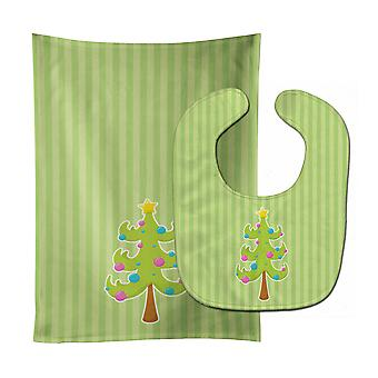 Holiday Christmas Tree and Stripes Baby Bib & Burp Cloth
