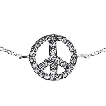 Inline Peace Sign - 925 Sterling Silver Chain Bracelets - W18599x