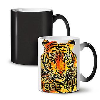मैं तुम्हें टाइगर पशु नई काले रंग बदलते चाय कॉफी सिरेमिक मग 11 ऑउंस देखते हैं | वेलकोडा