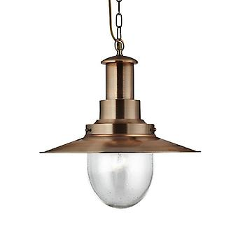 Fisherman Copper Finish Large Pendant With Seeded Glass - Searchlight 5301cu