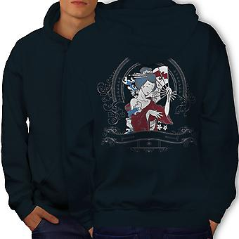 Girl Japan Woman Men NavyHoodie Back | Wellcoda