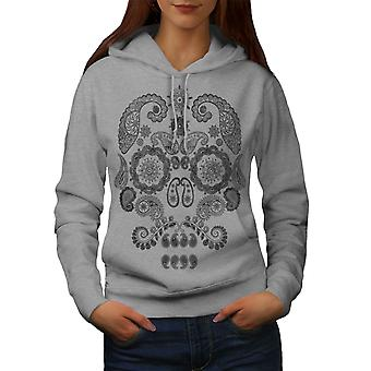 Face Of The Skull Women GreyHoodie | Wellcoda