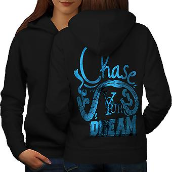 Chase Your Dream Women BlackHoodie Back | Wellcoda