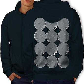 Spiral Illusion Pattern Men NavyHoodie Back | Wellcoda
