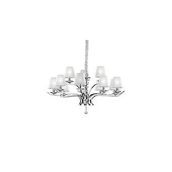 Pegaso Chrome And Crystal Twelve Light Chandelier With Organza Shades - Ideal Lux 66431