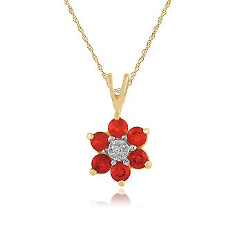Gemondo 9ct Yellow Gold 0.24ct Fire Opal & Diamond Floral Pendant on Chain