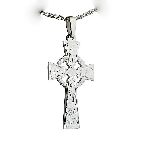Silver 44x26mm hand engraved Celtic Cross with bail on a cable Chain 18 inches