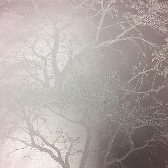 Whispering Trees Wallpaper Flowers Leaves Glitter Textured Sparkly Grey Holden