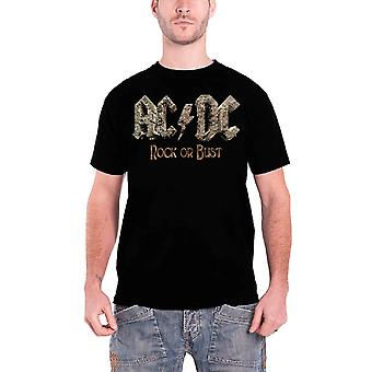 AC/DC T Shirt Classic Rock or Bust Band Logo Official Mens New Black