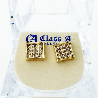 Gold bling iced out earrings - PAVE SQUARE 9 mm