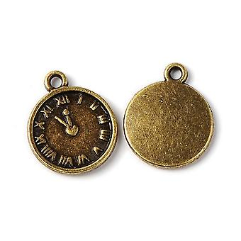 Packet 10 x Steampunk Antique Bronze Tibetan 16mm Clock Charm/Pendant ZX05860