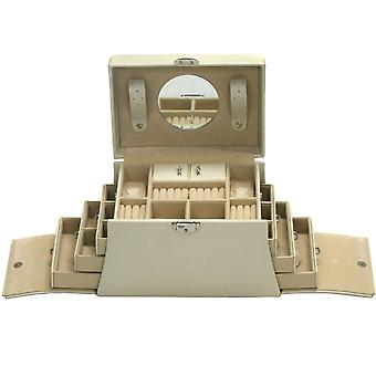 Jewelry box jewelry box jewelry bag beige with mirror, handle and 6 drawers