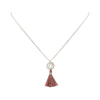 Ladies - - pendant - necklace 925 Silver - Lotus Flower - tassel - rose - YOGA - 45 cm