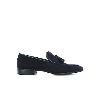 MORESCHI BLUE SUEDE MOCCASIN WITH TASSELS