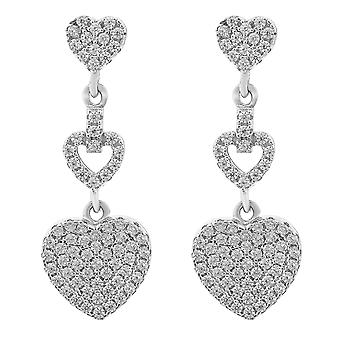 Orphelia Silver 925 Earring Triple Heart Zirconium  ZO-7273